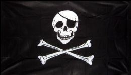 5ft x 3ft Fabric Large Pirate Ship Jolly Roger Skull and Crossbones Flag Flags